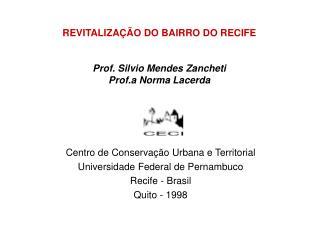 REVITALIZAÇÃO DO BAIRRO DO RECIFE Prof. Silvio Mendes Zancheti Prof.a Norma Lacerda