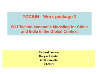 TOCSIN:  Work package 2  B-U Techno-economic Modeling for China and India in the Global Context