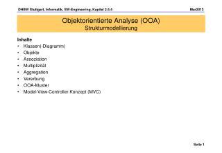 Objektorientierte Analyse (OOA) Strukturmodellierung
