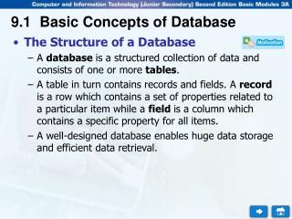 9.1 Basic Concepts of Database