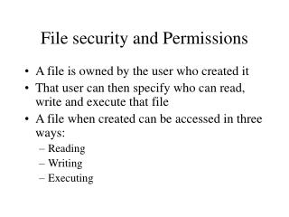 File security and Permissions