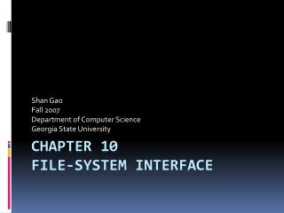 Chapter 10 File-System Interface