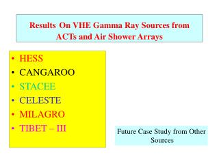 Results On VHE Gamma Ray Sources from ACTs and Air Shower Arrays