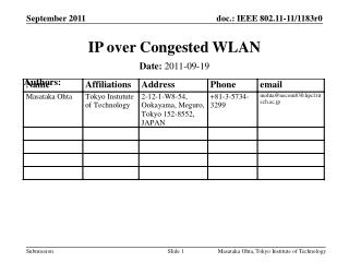 IP over Congested WLAN