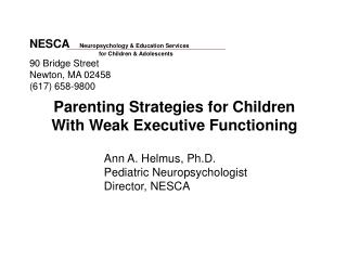 Parenting Strategies for Children   With Weak Executive Functioning