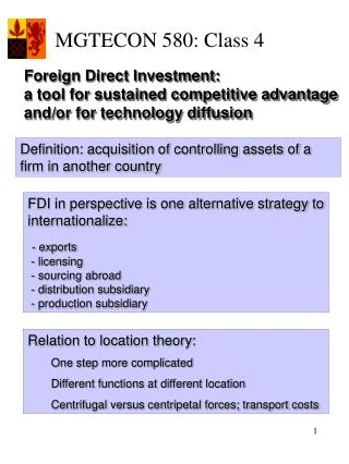 Foreign Direct Investment:  a tool for sustained competitive advantage