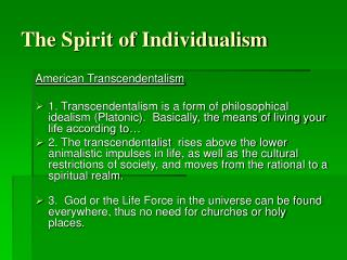 The Spirit of Individualism
