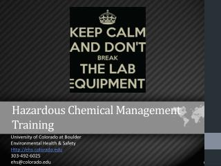 Hazardous  Chemical Management  Training