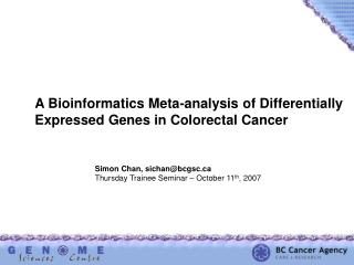 A Bioinformatics Meta-analysis of Differentially  Expressed Genes in Colorectal Cancer