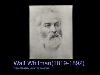 Walt Whitman(1819-1892) Image Courtesy Library of Congress
