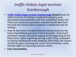 Traffic tickets legal services Scarborough