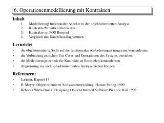 Inhalt Modellierung funktionaler Aspekte in der objektorientierten Analyse