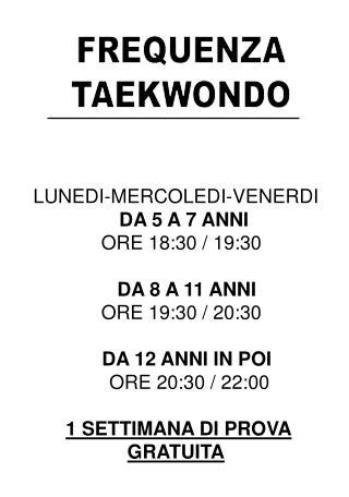 LUNEDI-MERCOLEDI-VENERDI       DA 5 A 7 ANNI   ORE 18:30 / 19:30 DA 8 A 11 ANNI