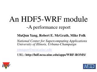 An HDF5-WRF module -A  performance report
