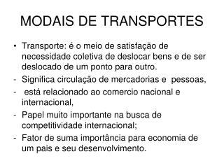 MODAIS DE TRANSPORTES