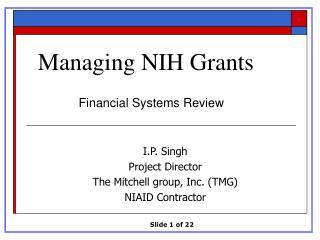 Managing NIH Grants