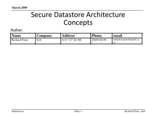 Secure  Datastore  Architecture Concepts