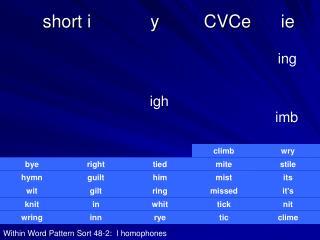 Short i            y         CVCe      ie