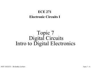 Topic 7  Digital Circuits  Intro to Digital Electronics