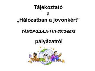 """Tájékoztató a """" Hálózatban a jövőnkért """" TÁMOP-3.2.4.A-11/1-2012-0078 pályázatról"""