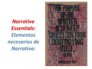 Narrative Essentials: Elementos necesarios de Narrativa: