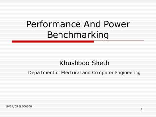 Performance And Power Benchmarking