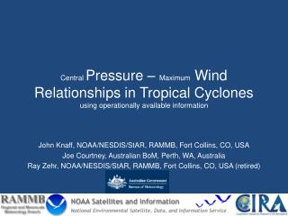 Central Pressure   Maximum Wind Relationships in Tropical Cyclones using operationally available information