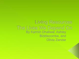 Living Resources The Lives  W e Depend On