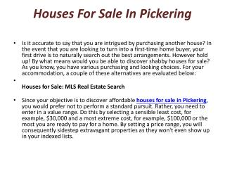 sell my home in Pickering