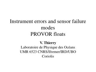 Instrument errors and sensor failure modes PROVOR floats