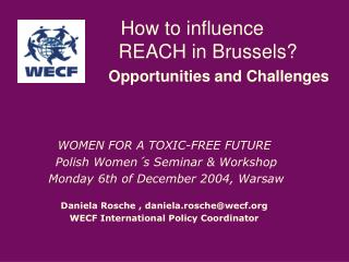 How to influence REACH in Brussels? Opportunities and Challenges