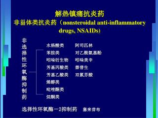 解热镇痛抗炎药 非甾体类抗炎药( nonsteroidal anti-inflammatory drugs, NSAIDs)