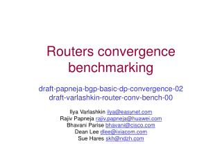 Routers convergence benchmarking