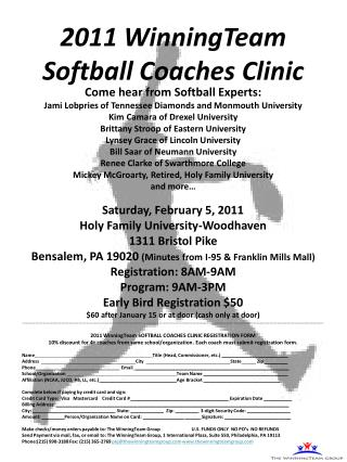 2011 WinningTeam  Softball Coaches Clinic
