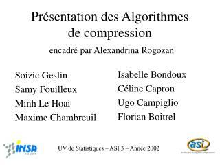 Présentation des Algorithmes de compression encadré par Alexandrina Rogozan