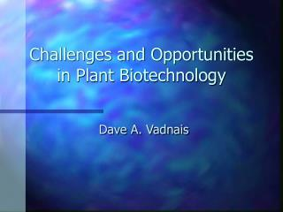 Challenges and Opportunities in Plant Biotechnology