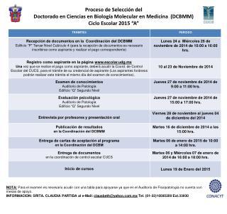Proceso  de  Selección  del  Doctorado en Ciencias en Biología Molecular en Medicina  (DCBMM)