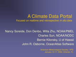 A Climate Data Portal Focused on realtime and retrospective  in situ  data