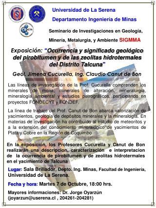 Seminario de Investigaciones en Geología,  Minería, Metalurgia, y Ambiente  SIGMMA