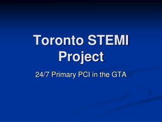 Toronto STEMI Project
