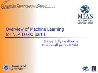 Overview of Machine Learning  for NLP Tasks: part I