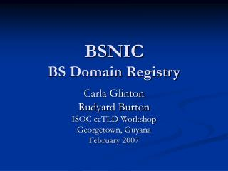 BSNIC BS Domain Registry