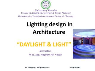Lighting design In Architecture