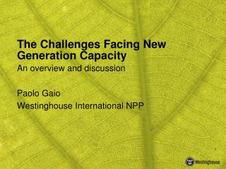 The Challenges Facing New Generation Capacity
