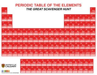 PERIODIC TABLE OF THE ELEMENTS THE GREAT SCAVENGER HUNT