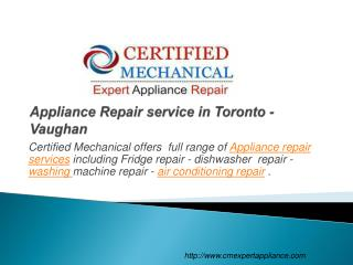 Appliance Repair service in Toronto - Vaughan