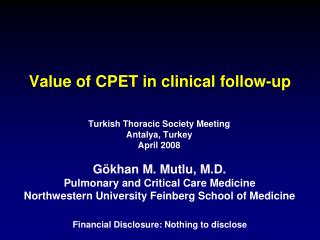 Value of CPET in clinical follow-up