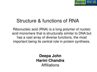 Structure & functions of RNA
