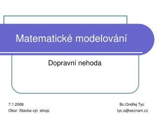 Matematické modelování