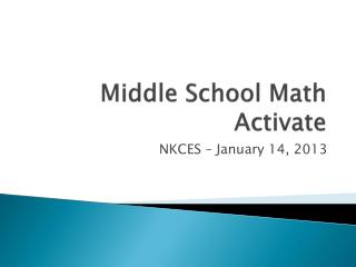 Middle School Math Activate